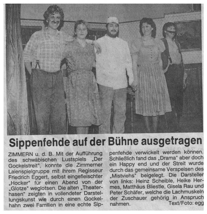 Pressebericht 05.01.1990 - Der Gockelstreit