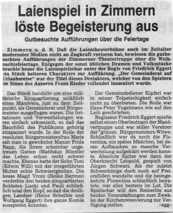 Pressebericht 12.1985 - Der Gemeinderat auf Urlaubsreise