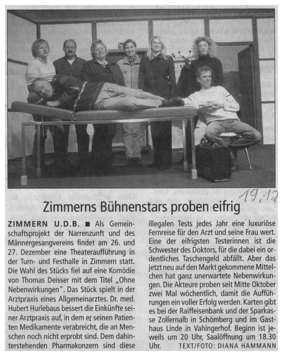 Pressebericht 19.12.2003 - Ohne Nebenwirkungen