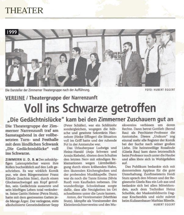 Pressebericht 1999 - Die Gedächtnislücke