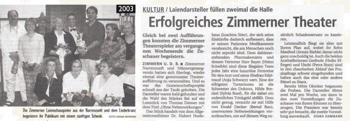 Pressebericht 2003 - Ohne Nebenwirkungen