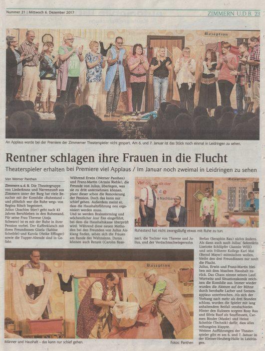 Schlichem-/Heuberg-Blick 06.12.17 - Ruhestand - und plötzlich war die Ruhe weg!
