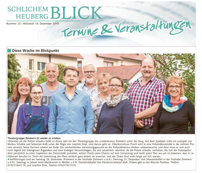 """Schlichem-Heuberg-Blick 18.12.2019 - """"Dümmer als die Polizei erlaubt"""""""