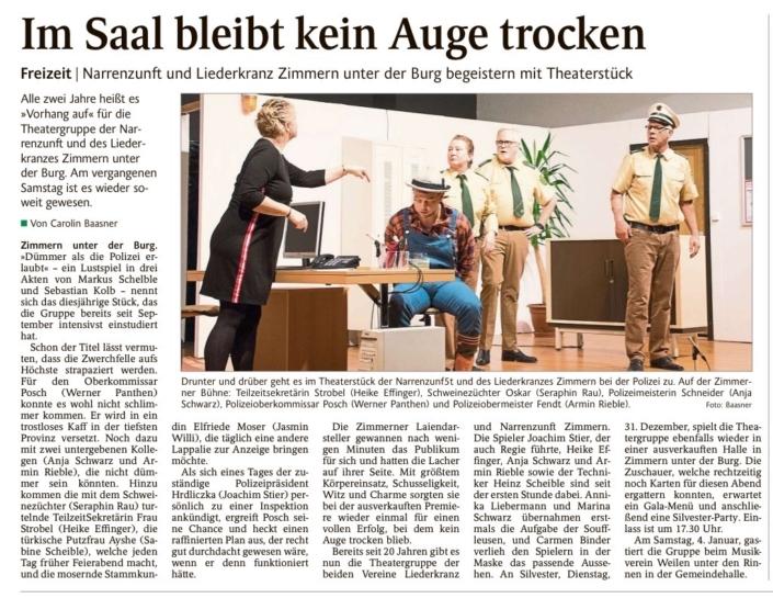 """Schwarzwälder Bote 30.12.2019 - """"Dümmer als die Polizei erlaubt"""""""