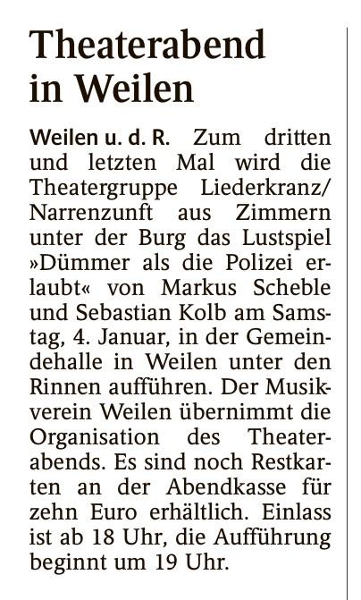"""Schwarzwälder Bote 03.01.2020 - """"Dümmer als die Polizei erlaubt"""""""