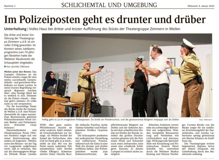 """Schwarzwälder Bote 08.01.2020 - """"Dümmer als die Polizei erlaubt"""""""
